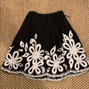 Oscar de la Renta eyelet black/white skirt